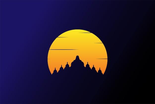 간단한 미니멀리즘 일출 일몰 보로부두르 사원 동상 로고 디자인 벡터