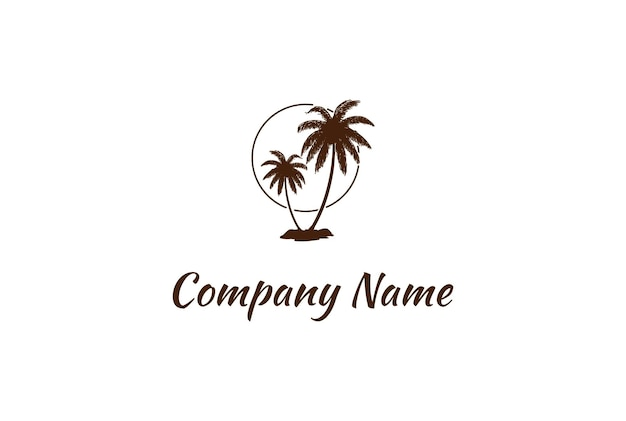 Simple minimalist sunset sunrise with palm tree logo design vector