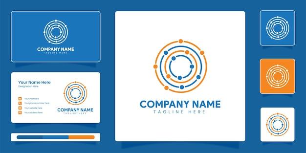 ビジネスアイデンティティベクトルテンプレートとシンプルなミニマリスト技術接続ロゴ