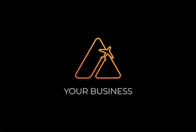 シンプルなミニマリストの三角形の山の平面のロゴデザインベクトル