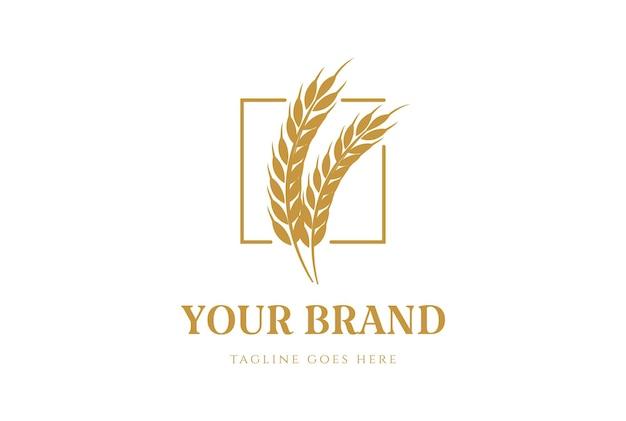 Simple minimalist wheat grain rice for bakery food logo design vector