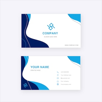 Simple modern business card name with the blue line white color