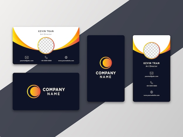 Simple modern business card with vertical and horizontal version