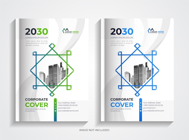 Simple modern corporate book cover template set