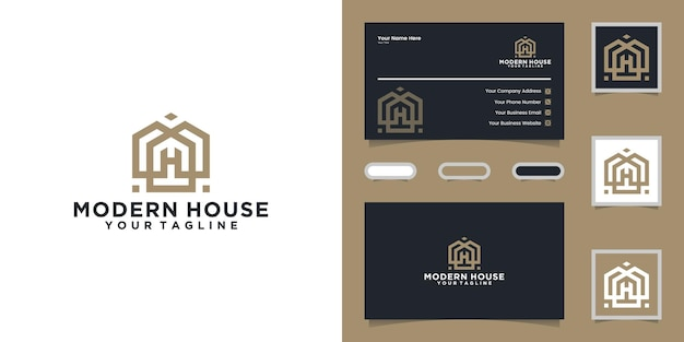 Simple modern home logo with a line style and a business card Premium Vector
