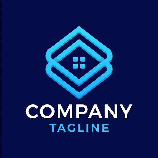 Simple modern minimalist house line square diamond real estate logo design