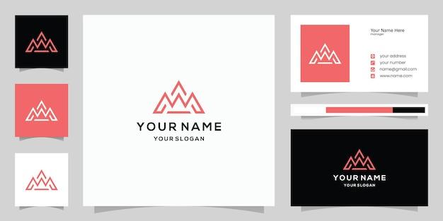 단순하고 현대적인 산악 모험 로고 및 명함