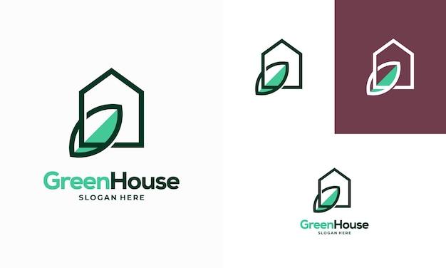 シンプルでモダンなアウトライングリーンハウスのロゴデザインコンセプトベクトル、エコ不動産ロゴデザインシンボルアイコン