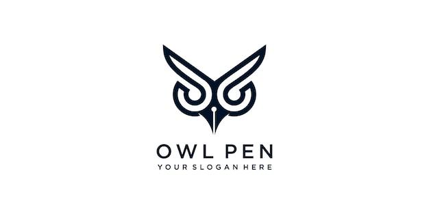 간단한 현대 올빼미 펜 로고 프리미엄 벡터