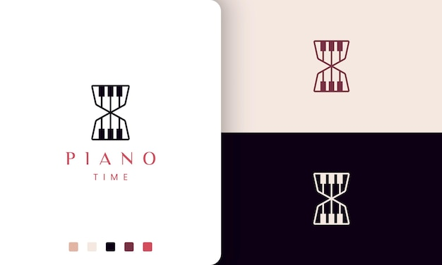 Simple and modern piano time logo or icon