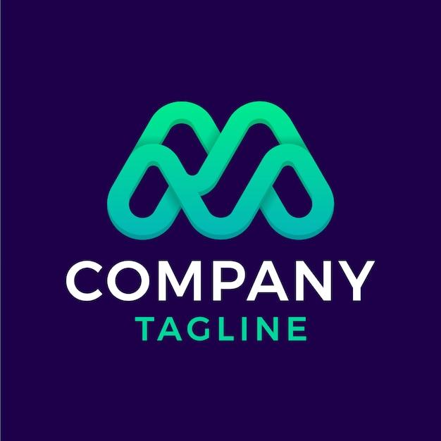 Simple modern rounded monoline initial letter m green gradient monogram logo design