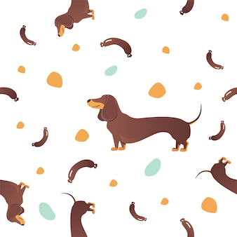 Simple modern seamless pattern with dog.