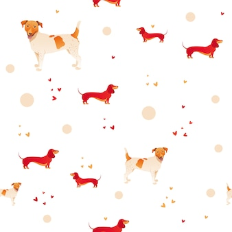Simple modern seamless pattern with red dog and grass.