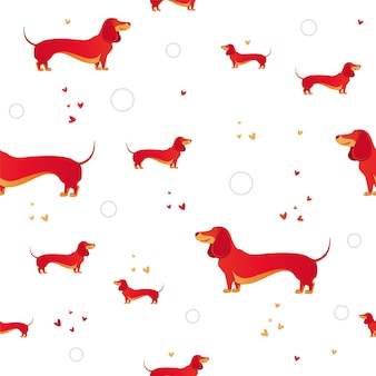 Simple modern seamless pattern with red dog and and heart.