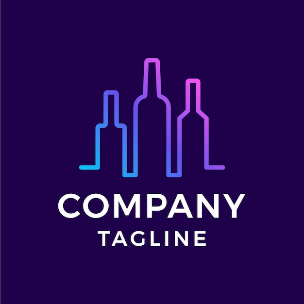 Simple monoline beverages bar drink line art colorful gradient logo design