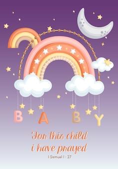 Biglietto per bebè con luna e arcobaleno semplice