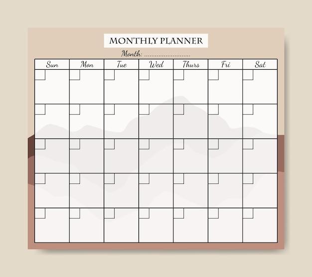 Шаблон ежемесячного планировщика simple mountain shape boho для печати