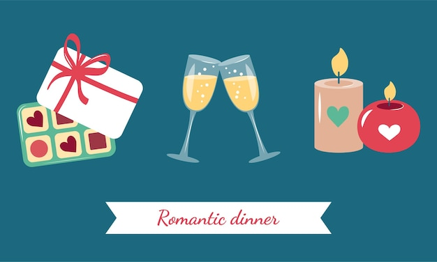 Simple multi coloured icons for romantic dinner date valentine day wedding birthday
