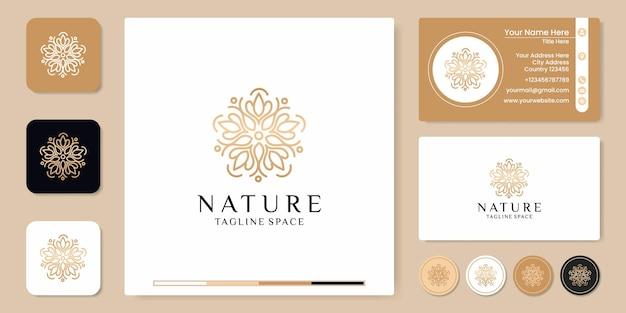 간단한 자연 잎 장식 로고 디자인, 스티커 및 명함 디자인
