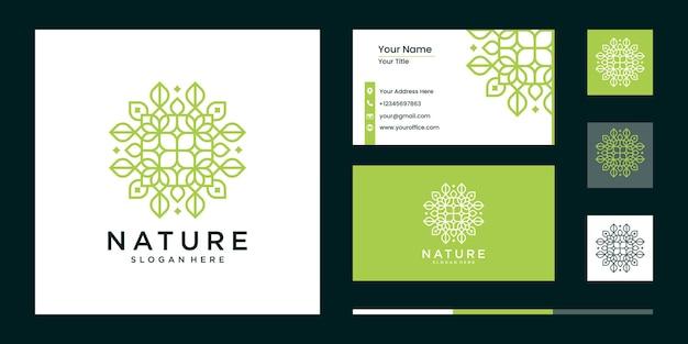 간단한 자연 잎 장식 로고 디자인