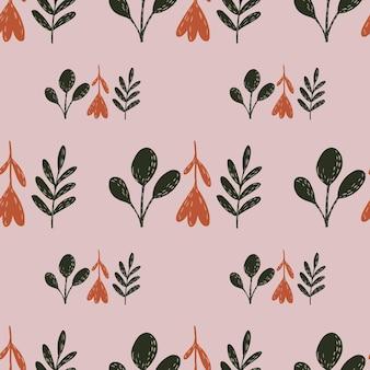 녹색과 붉은 꽃 실루엣으로 간단한 자연 완벽 한 패턴입니다. 라일락 배경입니다. 재고 그림입니다. 섬유, 직물, 선물 포장, 월페이퍼에 대한 벡터 디자인.