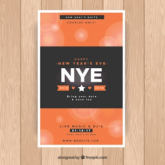 Simple new year's party poster in black and orange