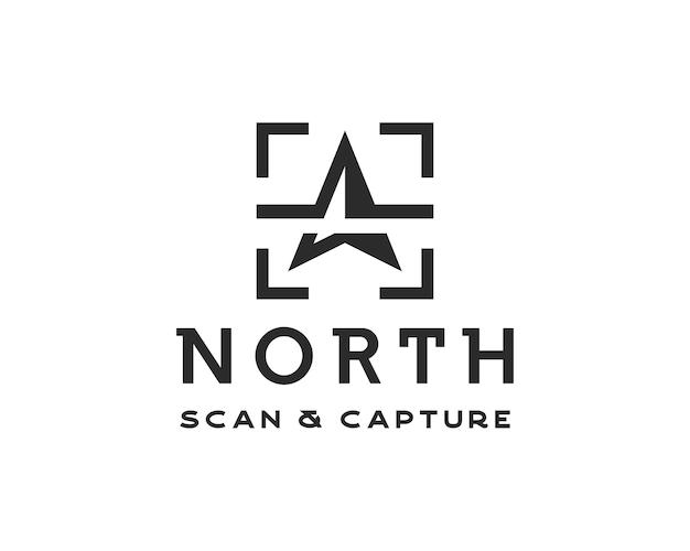 간단한 북쪽 화살표 로고. 캡처 및 스캔 기호 로고 디자인 템플릿이 있는 간단한 창