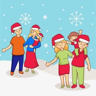 Простая рождественская семейная иллюстрация