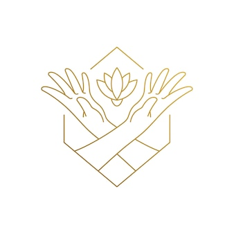 Простой шаблон дизайна логотипа в линейном стиле женских рук, воспитывающих растущий цветок, нарисованный тонкими золотыми линиями