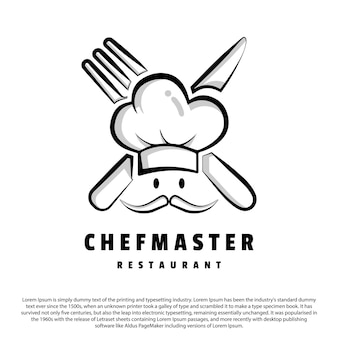 Simple outline chef logo design chef master logo for your business or brand
