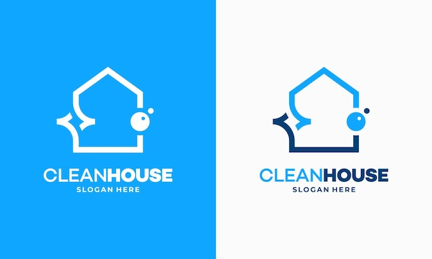 Simple outline clean house logo designs concept, cleaning service logo vector