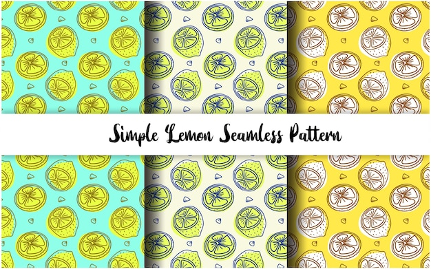 Simple outline hand drawn lemon slice seamless pattern collection