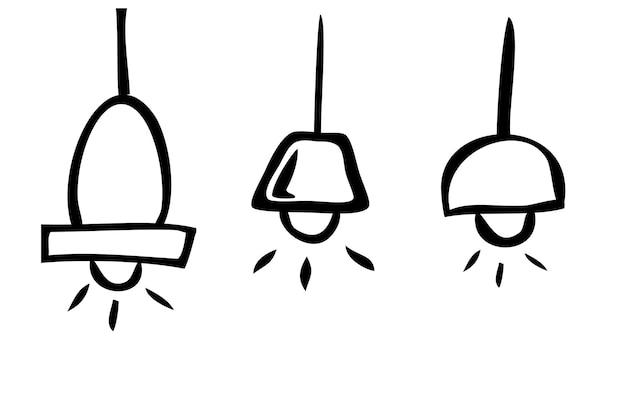 白で隔離のシンプルなアウトラインベクトル落書きランプ