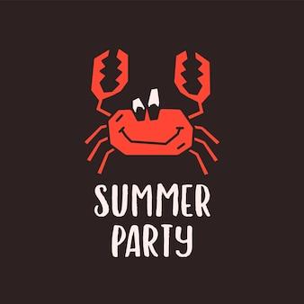 陽気な面白い漫画のカニのキャラクターと黒の背景に夏のパーティーの碑文とシンプルなアウトラインベクトルロゴデザインテンプレート