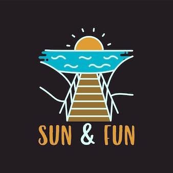 桟橋と黒の背景に太陽と楽しい碑文と海に沈む夕日とシンプルなアウトラインベクトルtシャツのデザイン
