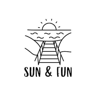 桟橋と太陽と楽しい碑文と海に沈む夕日とシンプルなアウトラインベクトルtシャツのデザイン