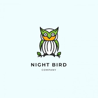Simple owl modern logo. cute green own standing on twig and leaf. premium vector