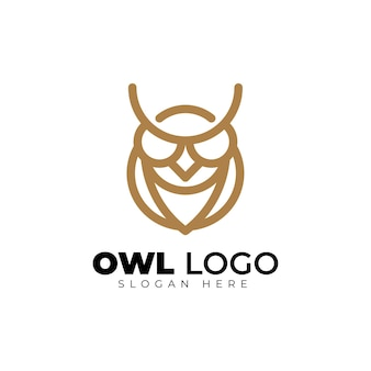 간단한 올빼미 monoline 기하학적 창조적 인 로고 디자인