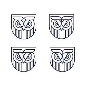 Simple owl shield logo set