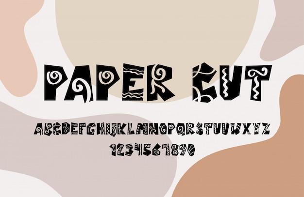 Простой paper cut шрифт нарезанный рукописный шрифт на фоне абстрактных фигур