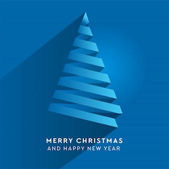 Simple paper stripe christmas tree. volume blue paper cut fir like arrow with shadow.