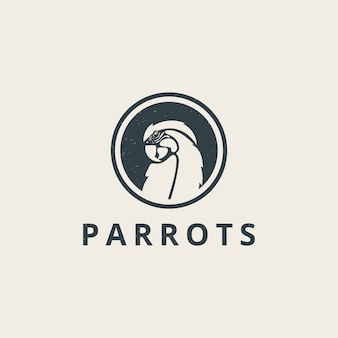 Simple parrots logo with vintage style