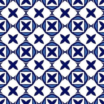 シンプルなパターンの青と白のセラミックタイル。