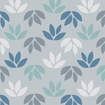 Simple pattern of leaves on blue background