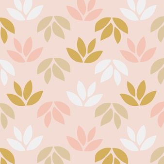 Simple pattern of leaves on pink background