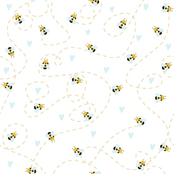 Simple pattern on a white background image of bees flowers hearts