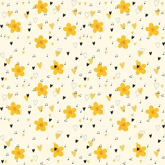 Simple pattern with yellow flowers, black hearts and dots