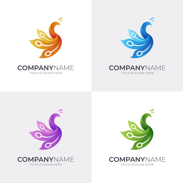 Simple peacock logo template