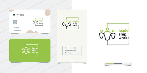 Простой дизайн логотипа людей и визитная карточка