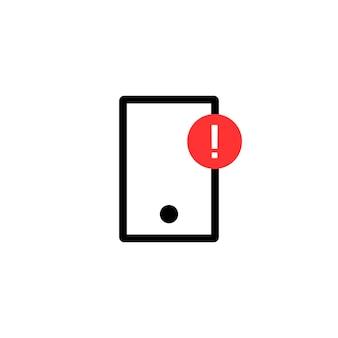 경고 알림이 있는 간단한 전화. 메시징, 채팅, 가제트, 소셜 네트워크, 실패, 결함 수정의 개념. 흰색 배경에 고립. 플랫 스타일 트렌드 현대 로고 디자인 벡터 일러스트 레이 션